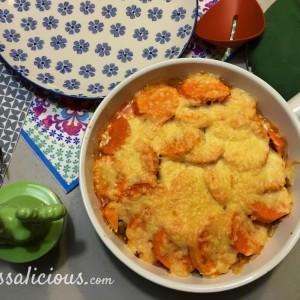 Gegratineerde Zoete aardappel pie