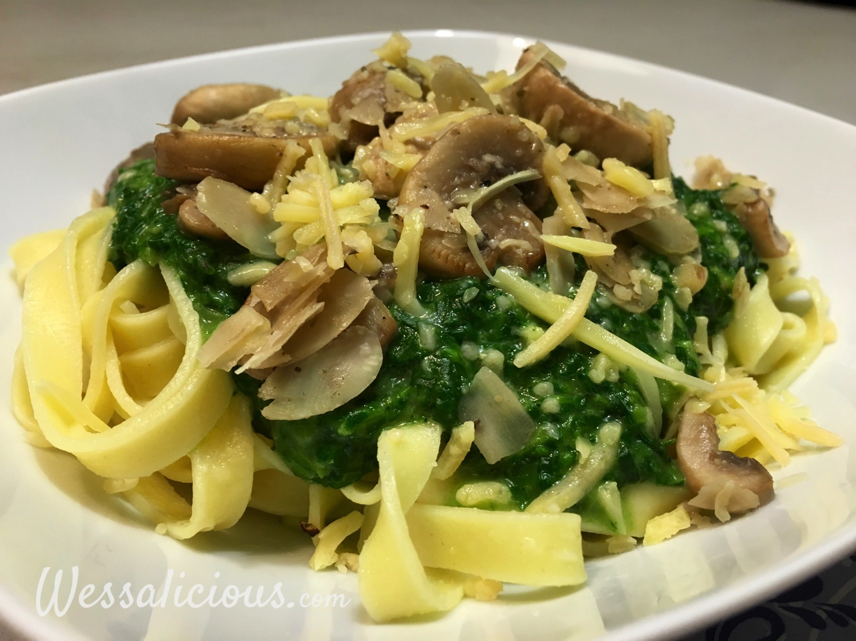 eindresultaat Tagliatelle met spinazie á la crème
