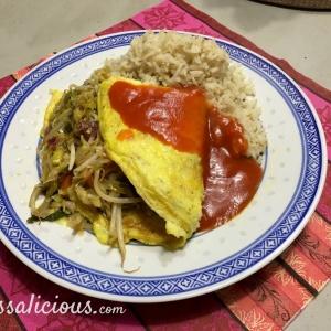eindresultaat Chinese omelet met zoete tomatensaus