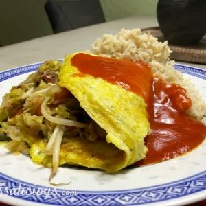 Lekkere Chinese omelet met zoete tomatensaus