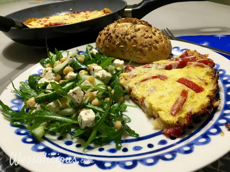 kikkererwtensalade met Paprika-omelet