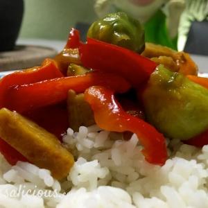 Paprika met roerbakblokjes