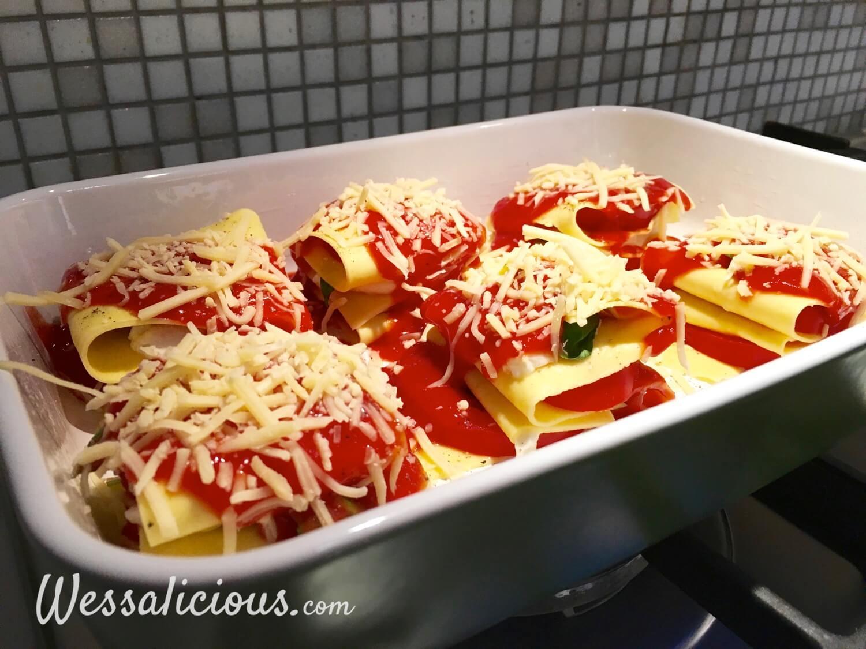 Voorbereiding voor Opgevouwen lasagne