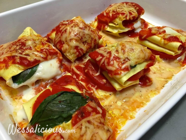 Gebakken Opgevouwen Caprese lasagne