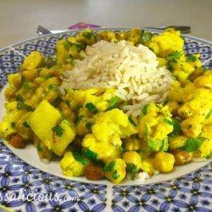 Indiase bloemkoolcurry met ananas en zilvervliesrijst
