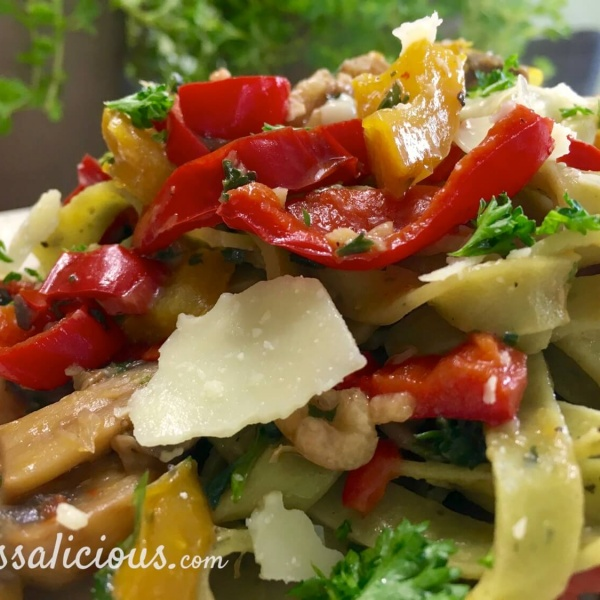 Voorbeeld Tagliatelle met champignons en walnoot