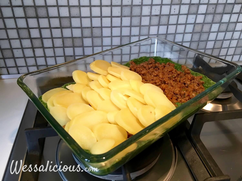 Voorbereiding Spinazie uit de oven met aardappel