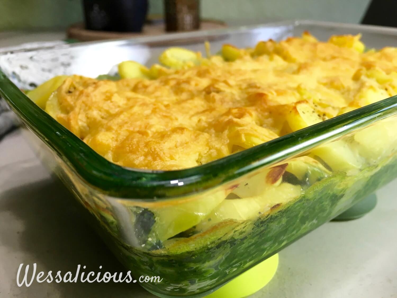 lekkere Spinazie uit de oven met aardappel