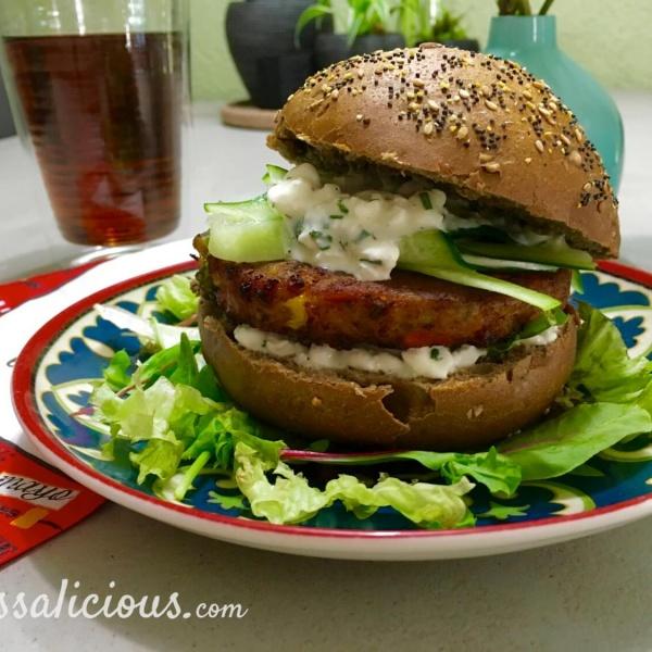 BBQ: Vegetarische burger met hüttenkäse