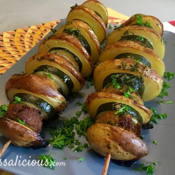 Spiesjes van aardappel en falafel