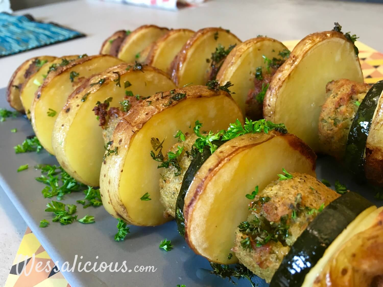 bbq Spiesjes van aardappel en falafel