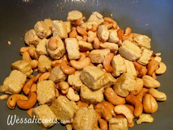 voorbereiding Rijstschotel met cashewnoten en groene groenten