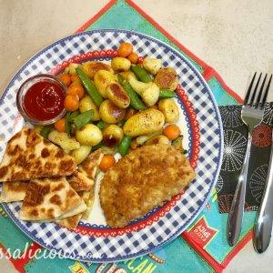 Cajun aardappelschotel met quesadilla's en sugar snaps