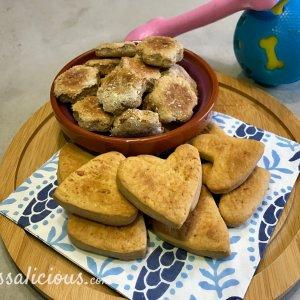 Zelfgemaakte hondenkoekjes met pindakaas