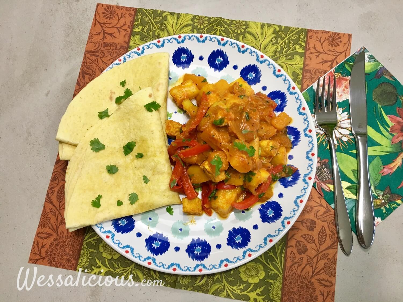 Roti met pompoen en ananas