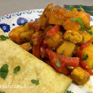 Roti met pompoen, koriander en ananas