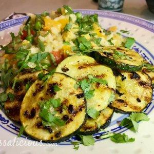 gegrilde Frisse limoen-courgette met Thaise rijst