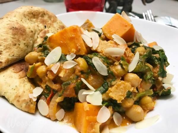 feestelijke Indiase curry met zoete aardappel