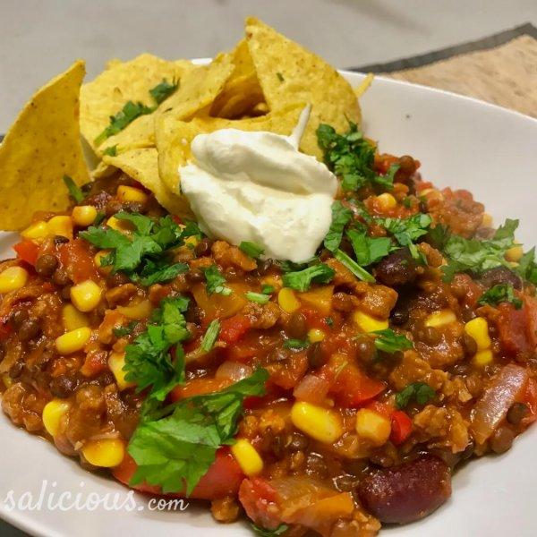 Lekkere Mexicaanse linzen chili
