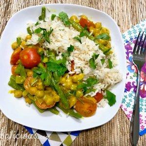 Recept met Gele curry met kikkererwten en koriander
