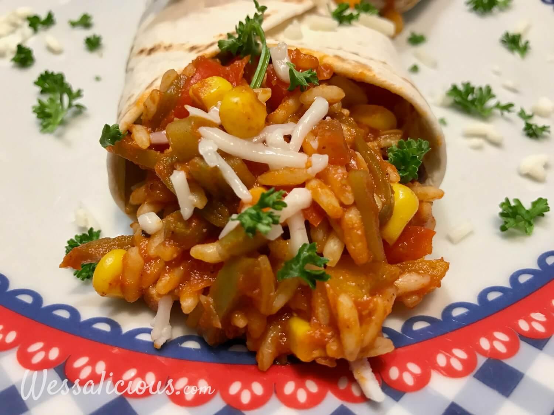 Lekkere Mexicaanse wraps gevuld met rijst