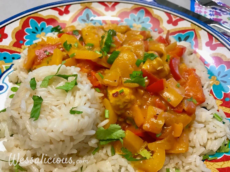 vegetarische Paprika curry met rijst