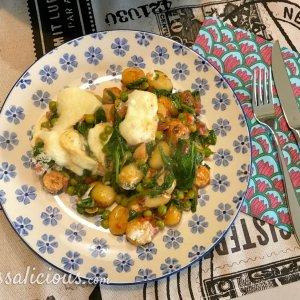 Gnocchi met spinazie en worst