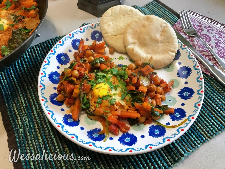 Shakshuka met zoete aardappel