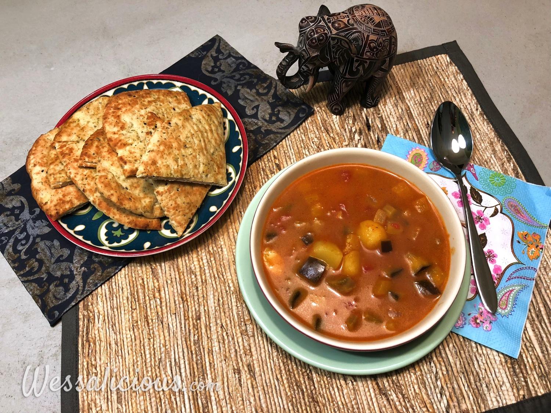 Indiase kokos- en currysoep met naan