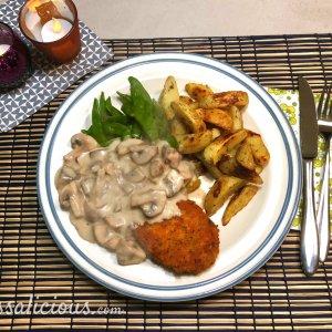 Rozemarijn aardappelpartjes met champignonroomsaus
