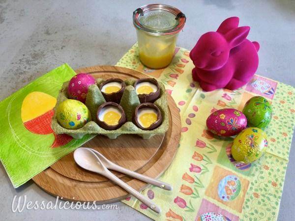 Gevulde chocolade paaseieren met lemon curd