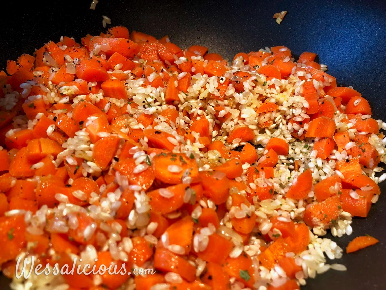 voorbereiding Tomatenrisotto met babyspinazie