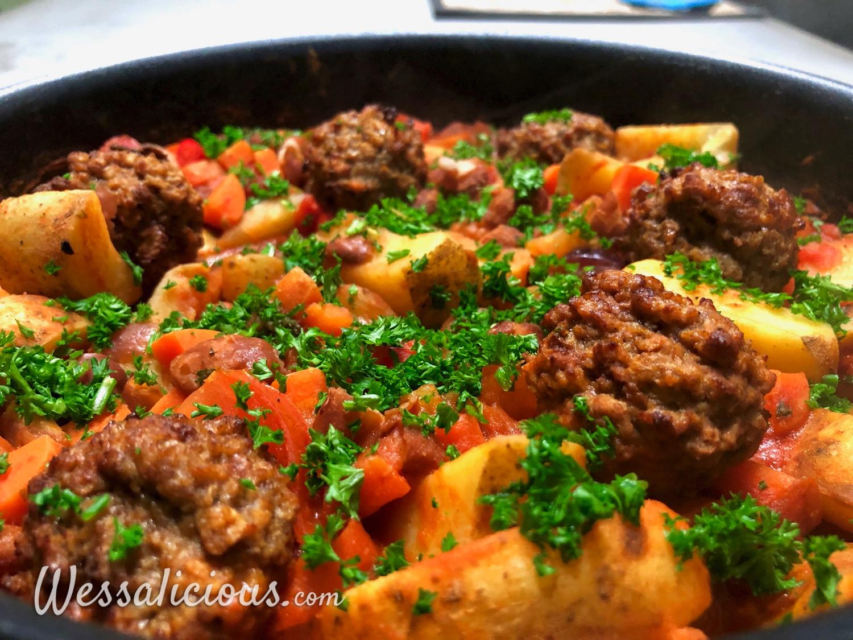 Bonenstoof met aardappel uit de oven