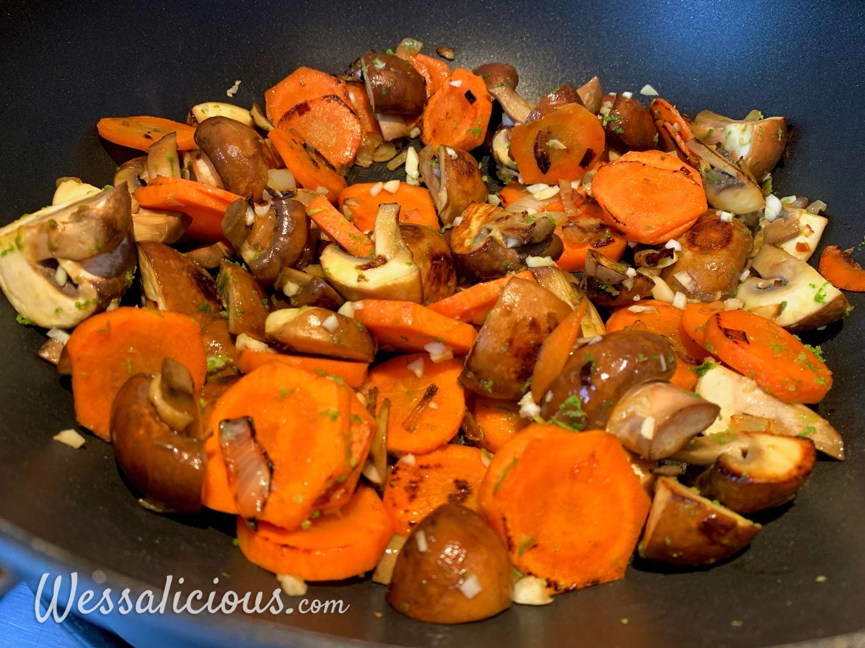 Voorbereiding Broccoli-curry met paddenstoelen en rijst