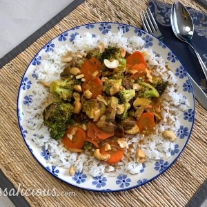 Broccoli-curry met paddenstoelen en rijst