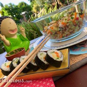 Vegetarische sushi-salade met vega sushi