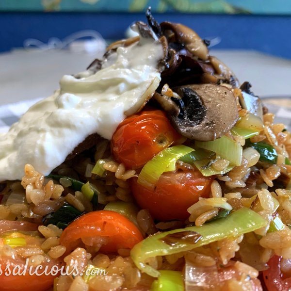 Portobello-risotto met zure room