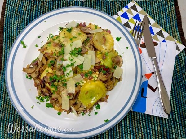 Verse gevulde pasta met truffelolie