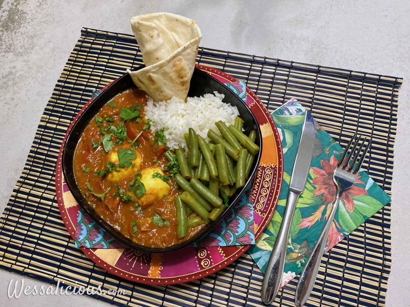 Pittige vegetarische curry met ei