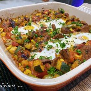 Vegetarische Spaanse flamenco eieren - 4Vegetarische Spaanse flamenco eieren (Huevos a la Flamenca)