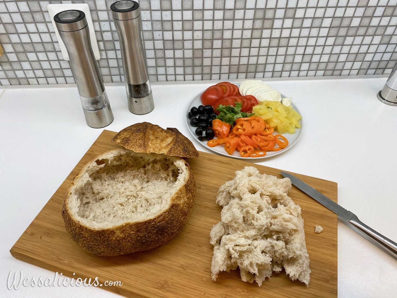 Voorbereiding Gevuld brood op Italiaanse wijze