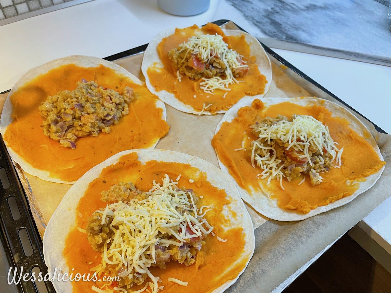 Voorbereiding Enchiladas met zoete aardappel