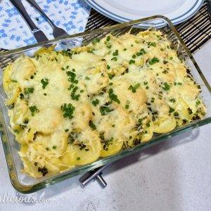 Aardappelovenschotel met bloemkool en broccoli