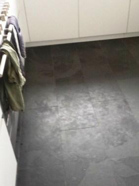 Slate Floor Before Clean and seal grout recolour in Lymm Cheshire