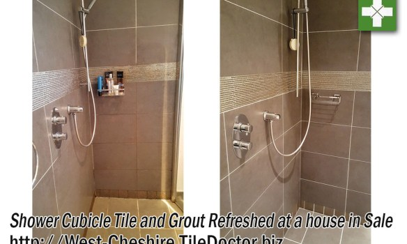 Shower tile and grout before and after refresh in Sale