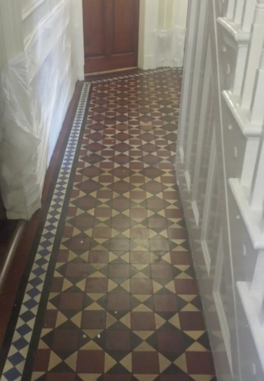 Victorian Tiled Floor Before Cleaning Warrington