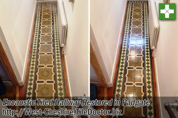 Encaustic Tiled Hallway Before and After Restoration in Padgate