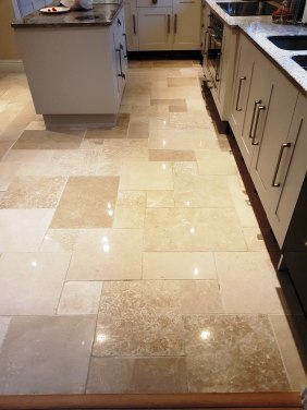Limestone Kitchen Floor Tiled After Cleaning