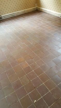 Carpet Covered Terracotta Tiled Floor Before Restortion in Appleton