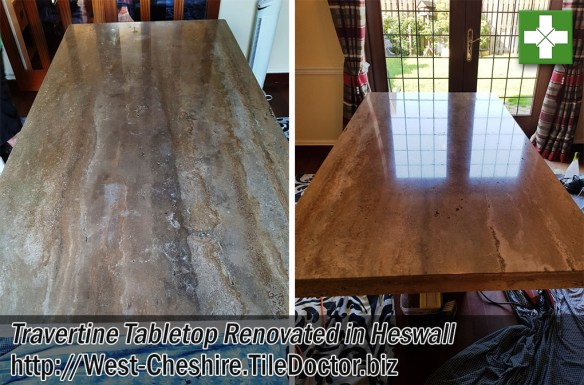 Travertine Tabletop Before and After Polishing Heswall